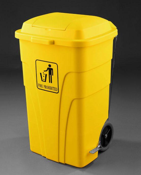 Contenedor reciclaje L con pedal color amarillo
