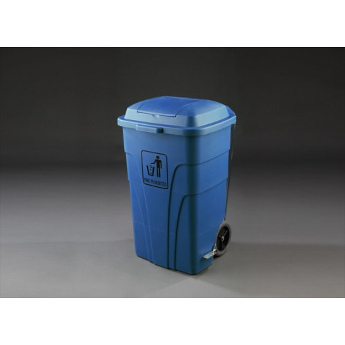 contenedor reciclaje litros con pedal color azul