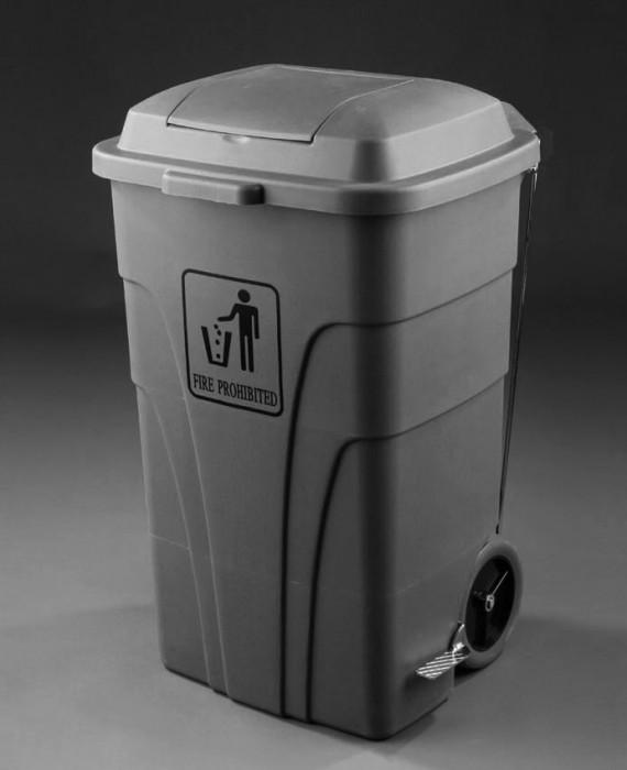 contenedor reciclaje L con pedal gris