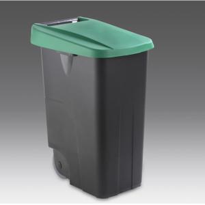 contenedor reciclaje litros verde tapa cerrada