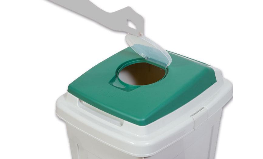 detalle tapa papelera reciclaje eco
