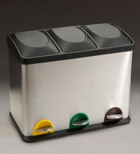 papelera pedal reciclaje triple