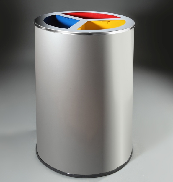 papelera reciclaje circular metalica cubetas