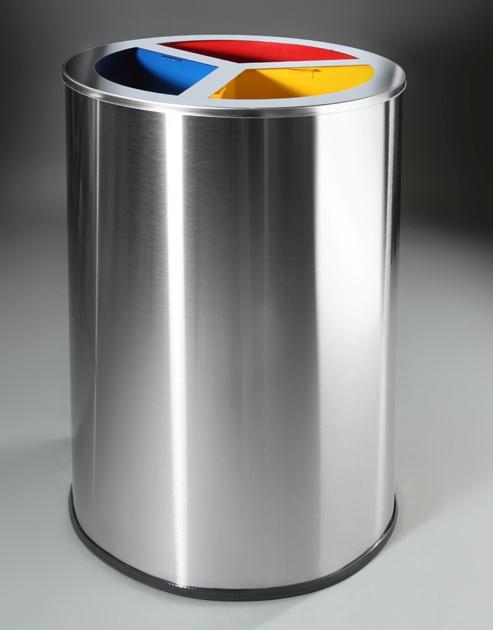 papelera reciclaje circular triple inoxidable