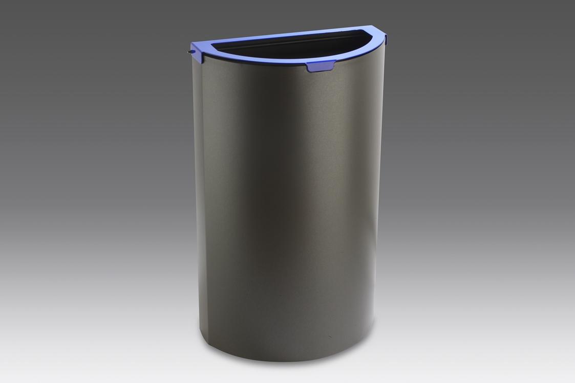 papelera reciclaje media luna cabezal azul