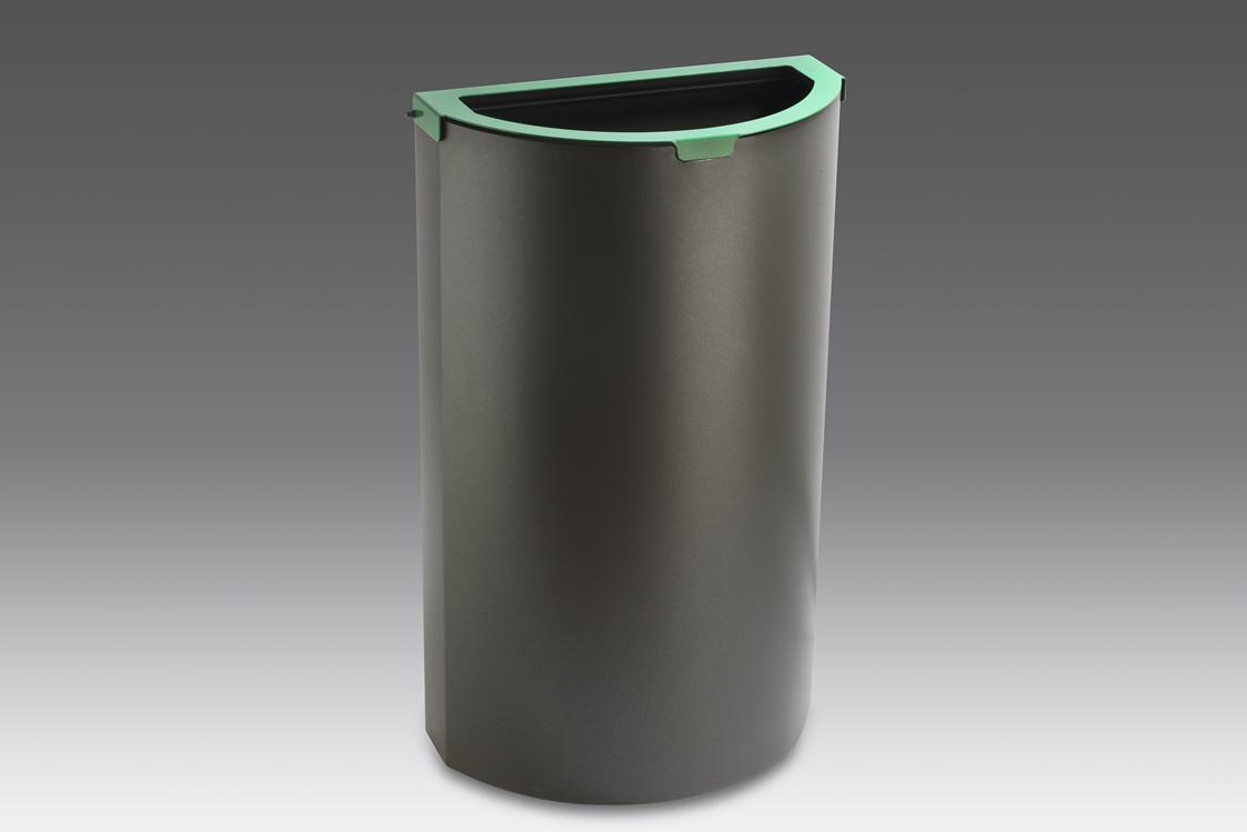 papelera reciclaje media luna cabezal verde