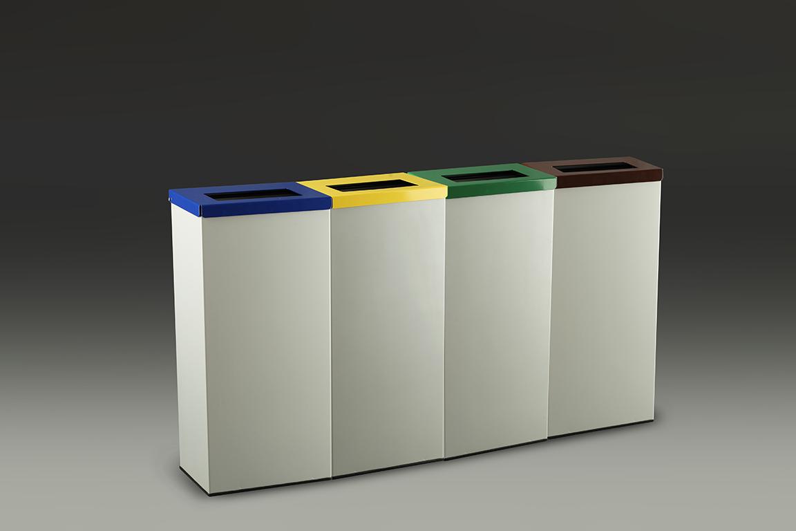 papelera reciclaje rectangular lote  en fila