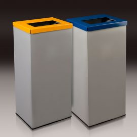 papelera reciclaje rectangular metálica