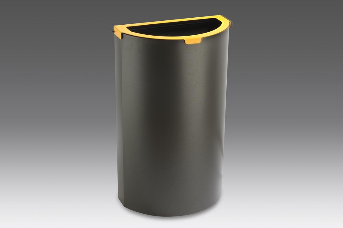 papelera reciclaje semicircular cabezal amarillo