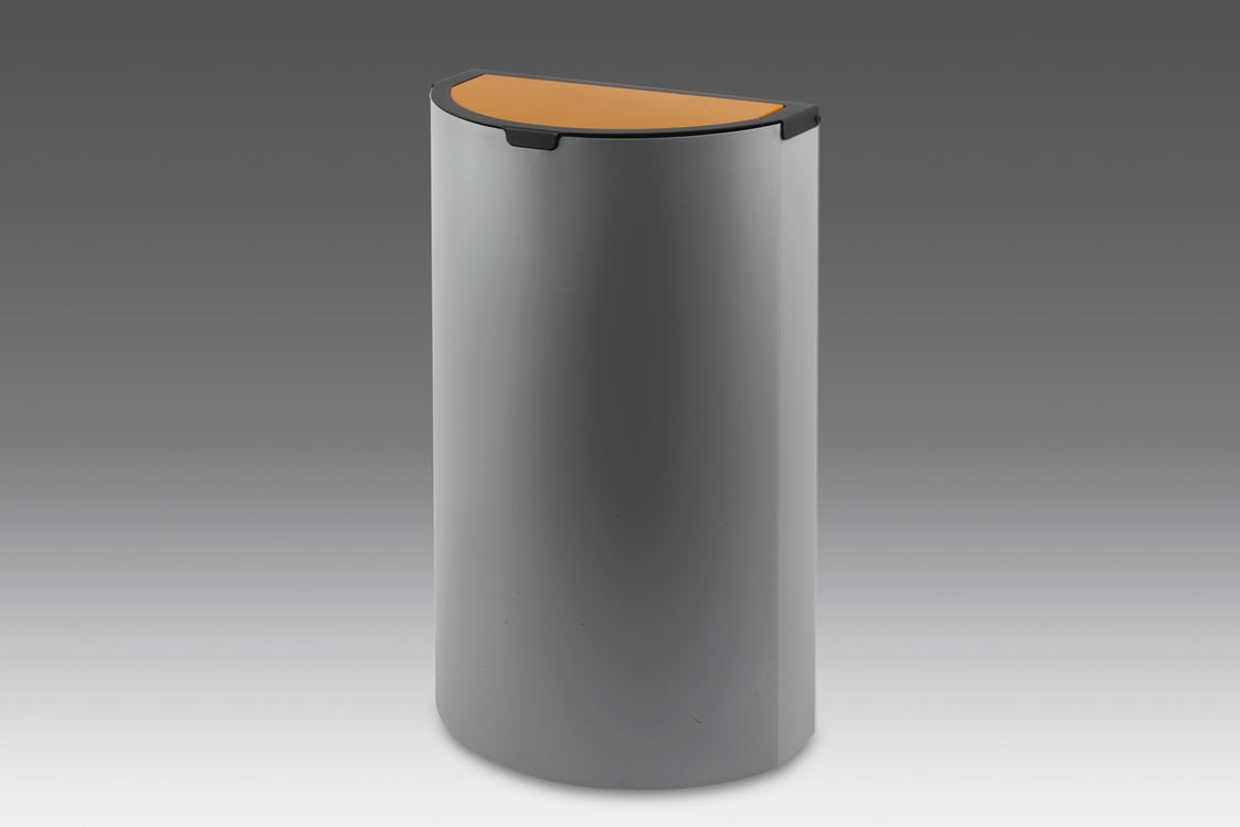 papelera reciclaje tapa basculante plata