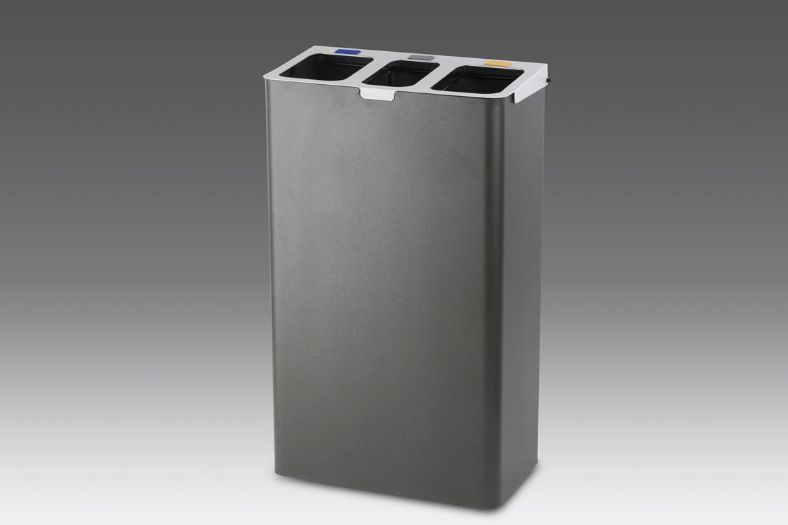 papelera reciclaje triple gris oxidon con aros