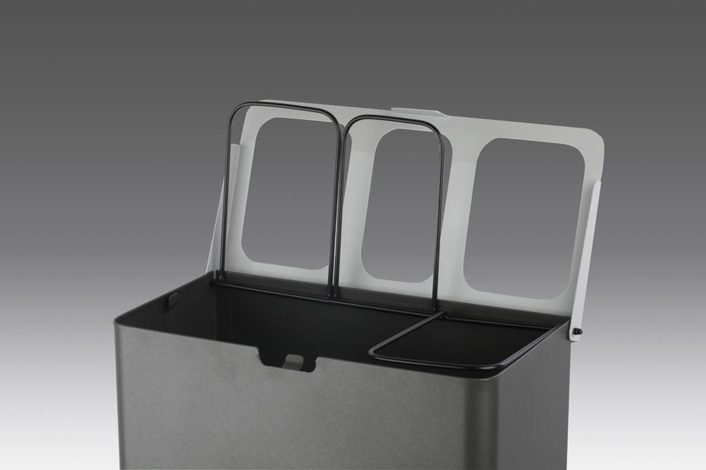 papelera reciclaje triple tapa abierta