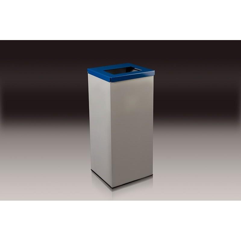 papelera rectangular con tapa y aro para recogida l azul