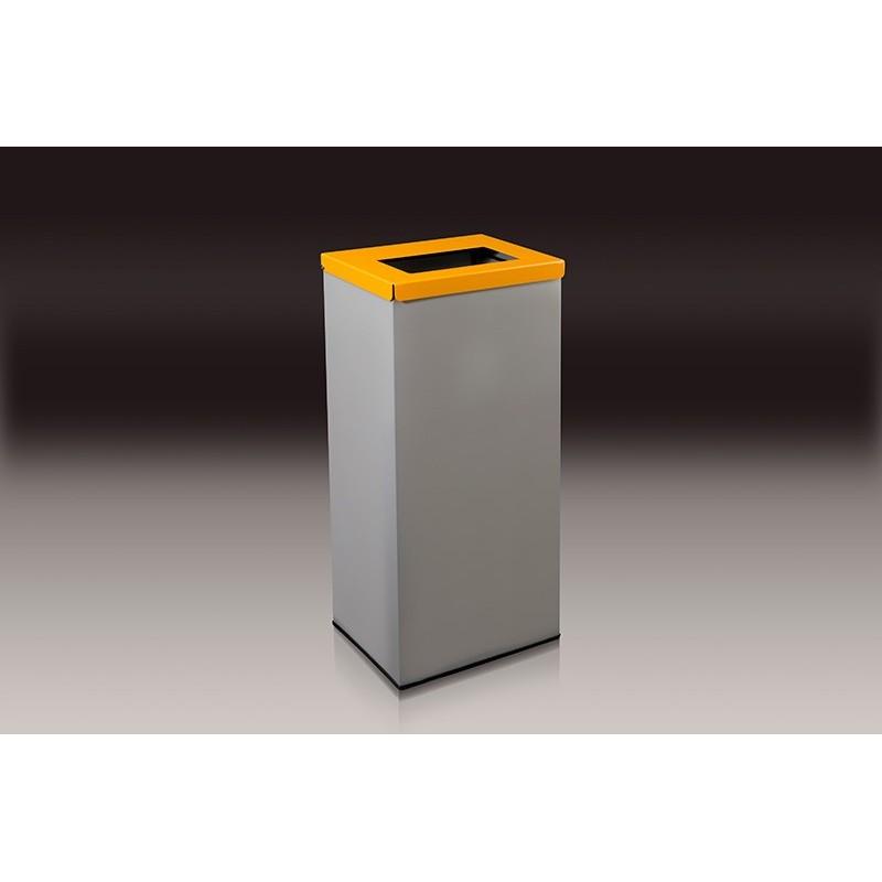 papelera rectangular de reciclaje con tapa y aro sujeta bolsas amarilla