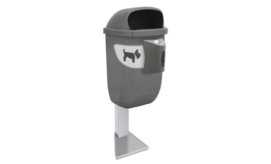 papelera canina con poste anclable