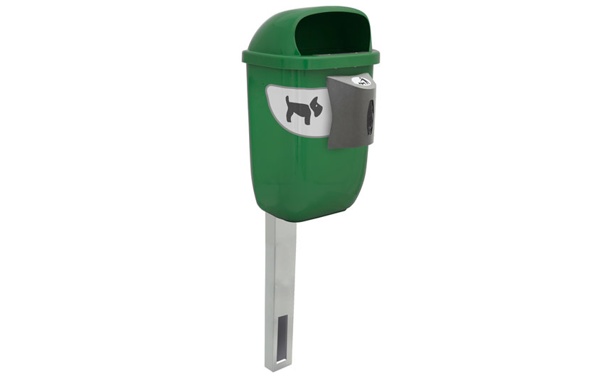 papelera canina con poste empotrable