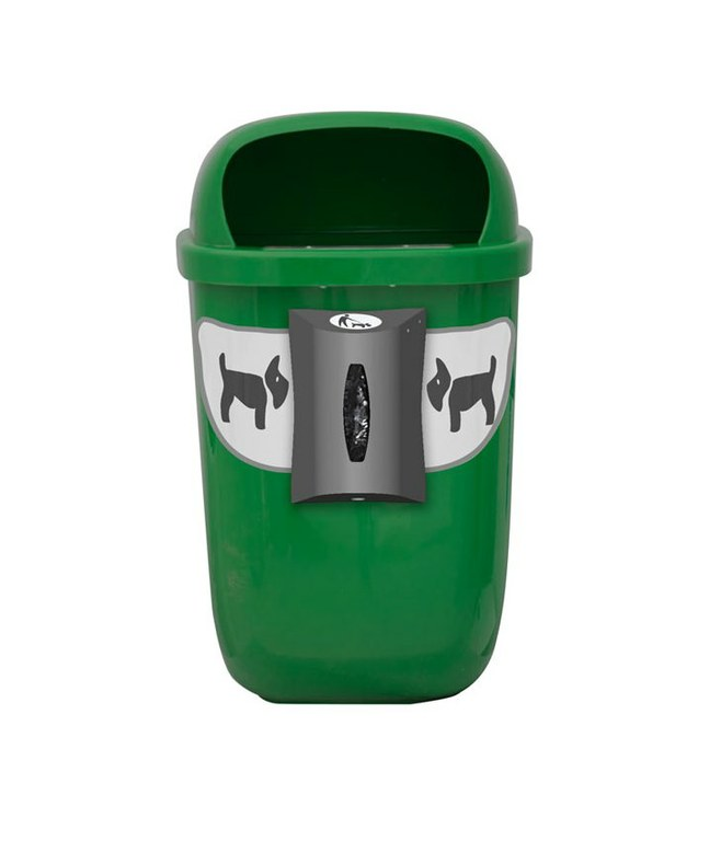 papelera canina mural verde