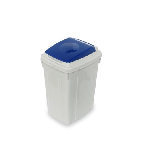 papelera de reciclaje con tapa azul litros