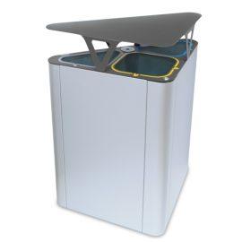 papelera para reciclaje triple con sombrero  litros