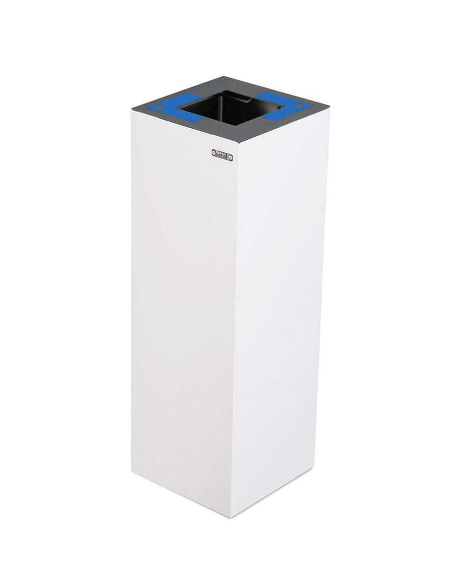 papelera reciclaje galvanizada blanca azul  litros