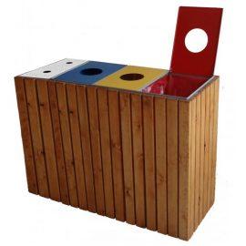 papelera reciclaje madera triple con cenicero
