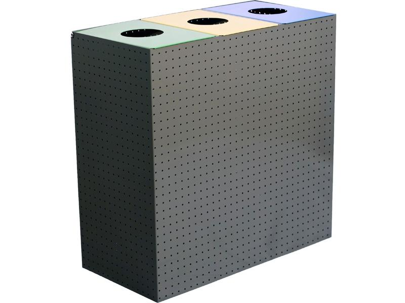 papelera reciclaje metálica perforada triple P