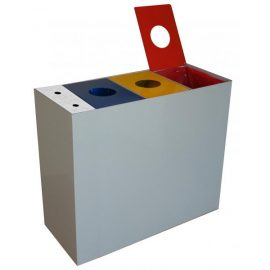 papelera reciclaje triple con cenicero C