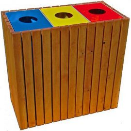 papelera reciclaje triple rectangular madera M