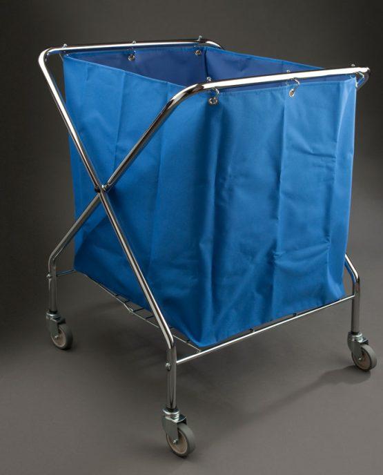 carro lavanderia plegable saco azul