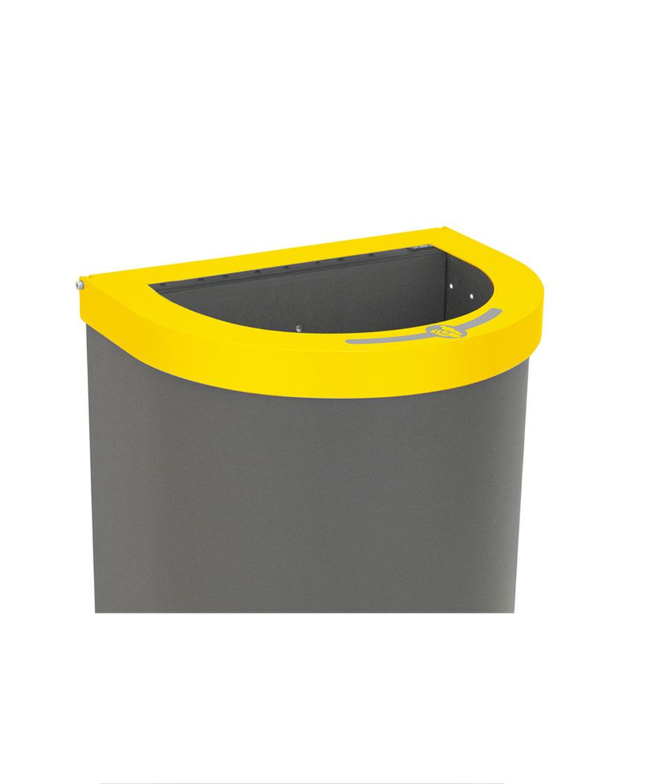 papelera reciclaje media luna tapa abierta