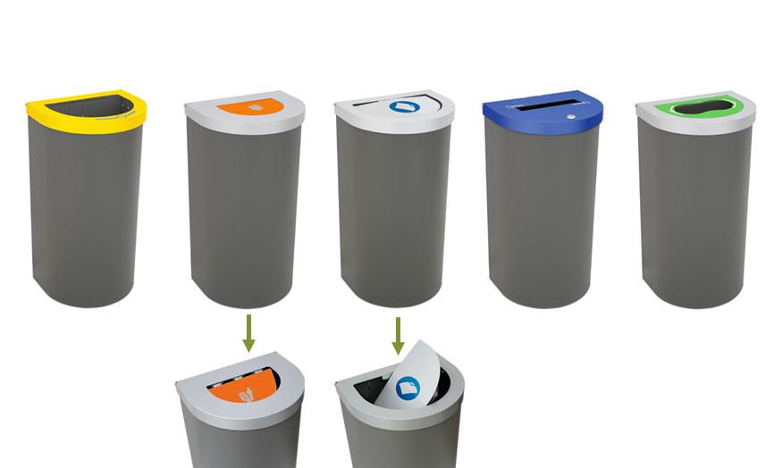 papelera reciclaje tapas
