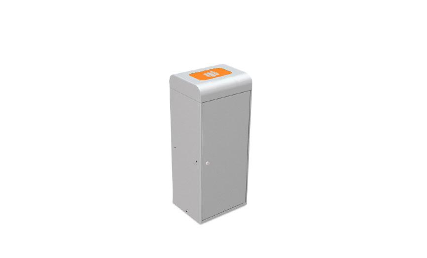 papelera reciclaje trampilla superior puerta naranja