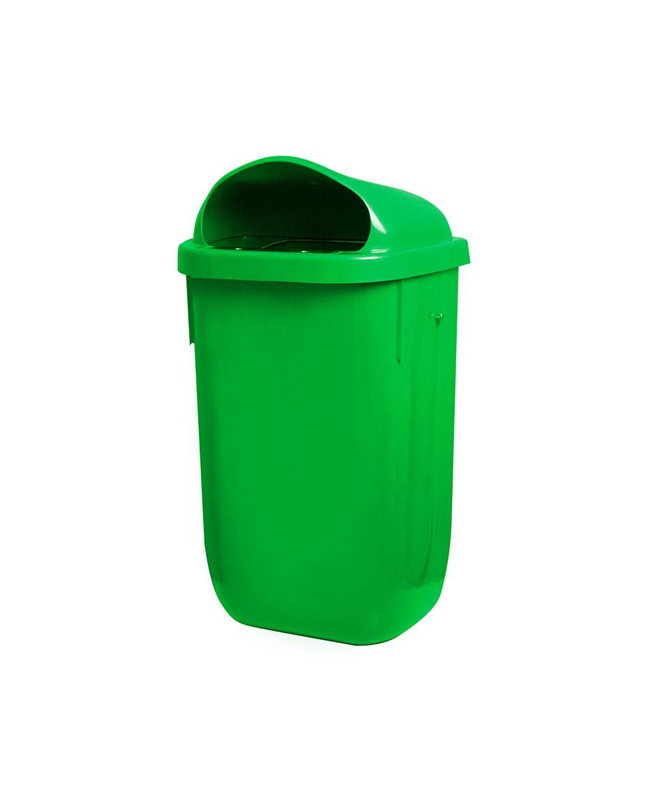 papelera urbana plástico verde