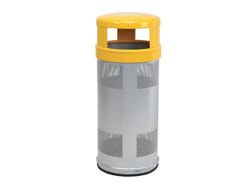 papelera reciclaje sombrero amarilla