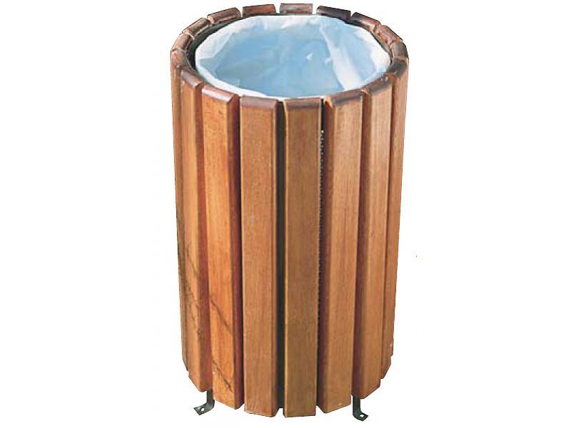 papelera circular madera atornillable suelo
