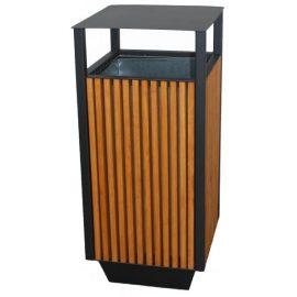 papelera exterior madera rectangular
