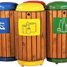 papelera reciclaje madera