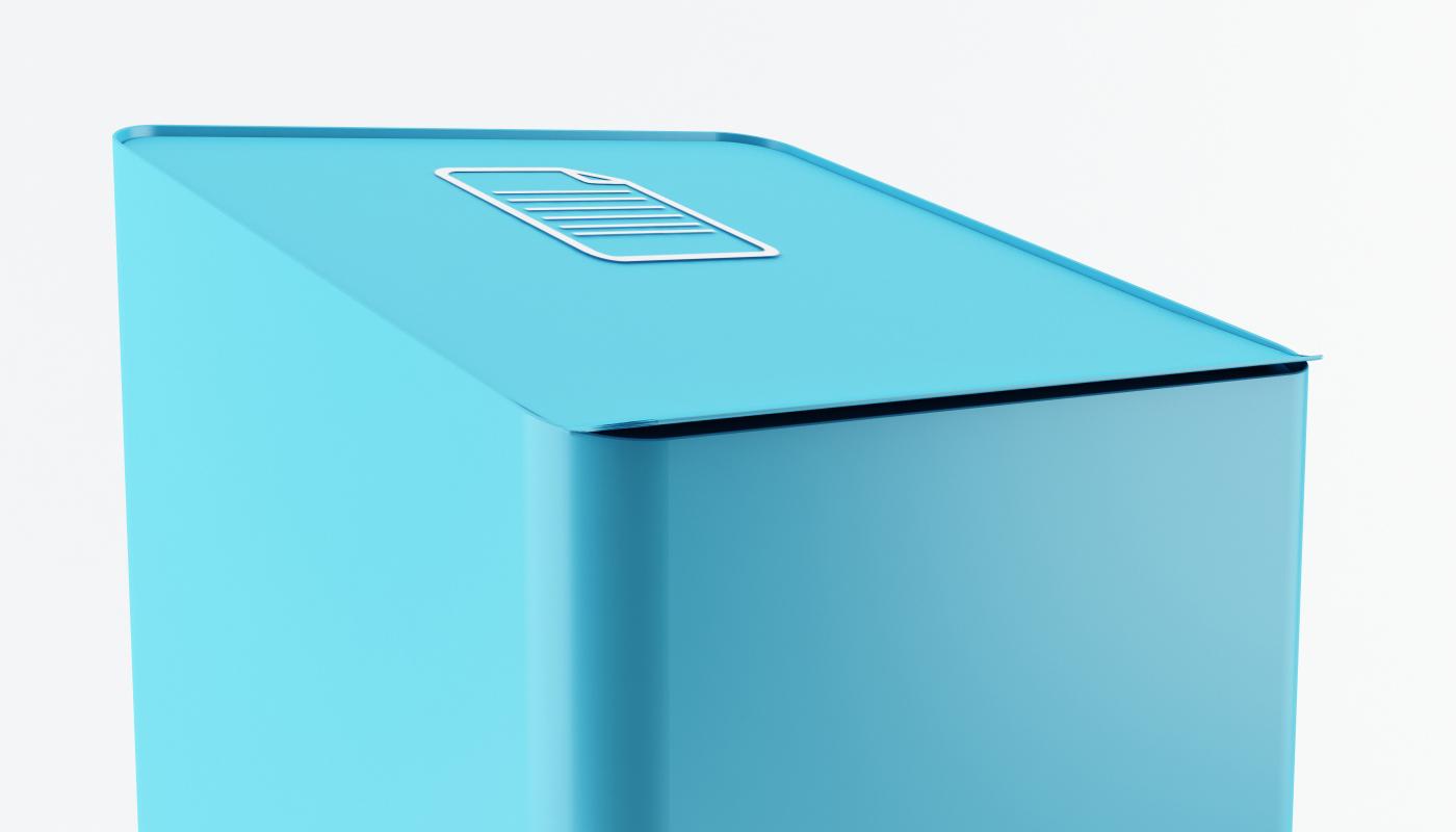 papelera reciclaje tapa abatiente diseño