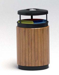 Papelera reciclaje triple madera grande