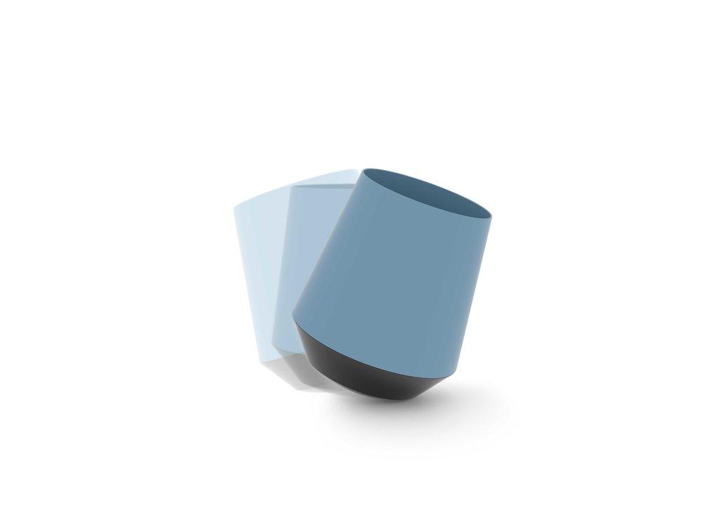 papelera diseño azul