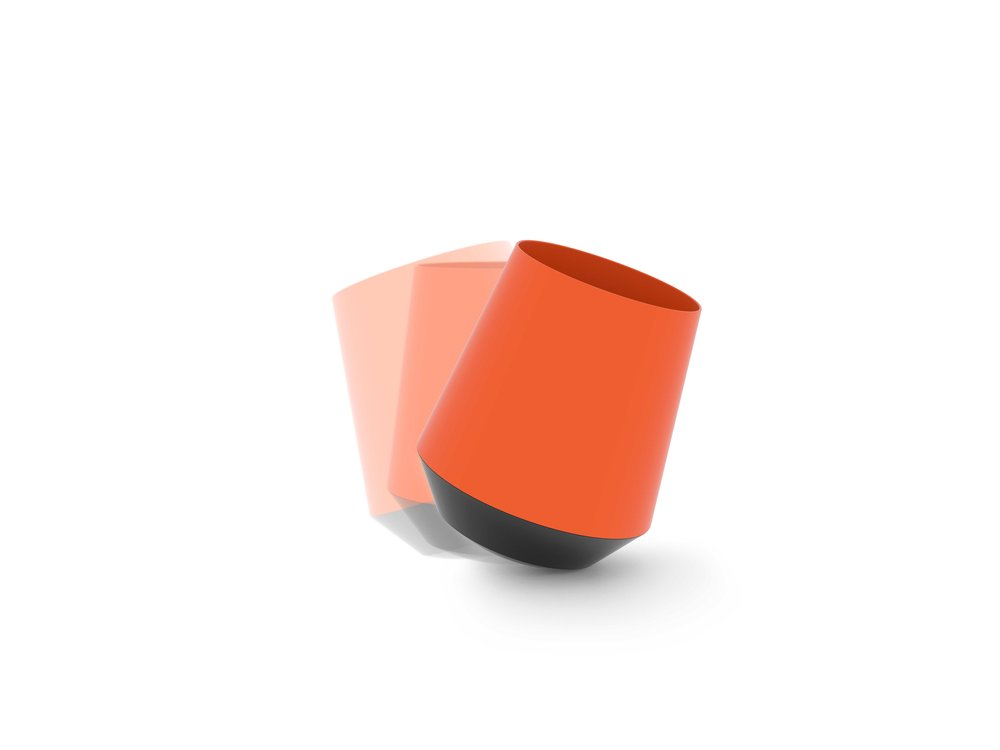 papelera diseño naranja