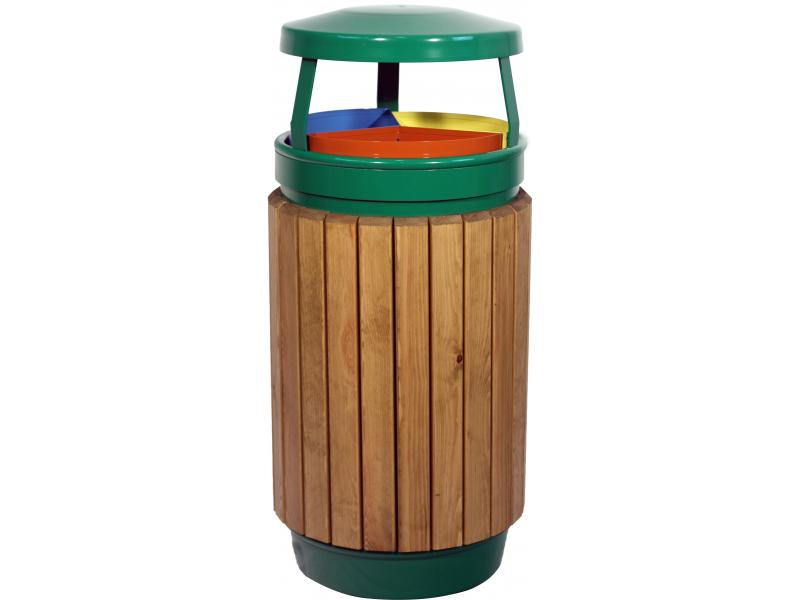 papelera reciclaje triple madera M