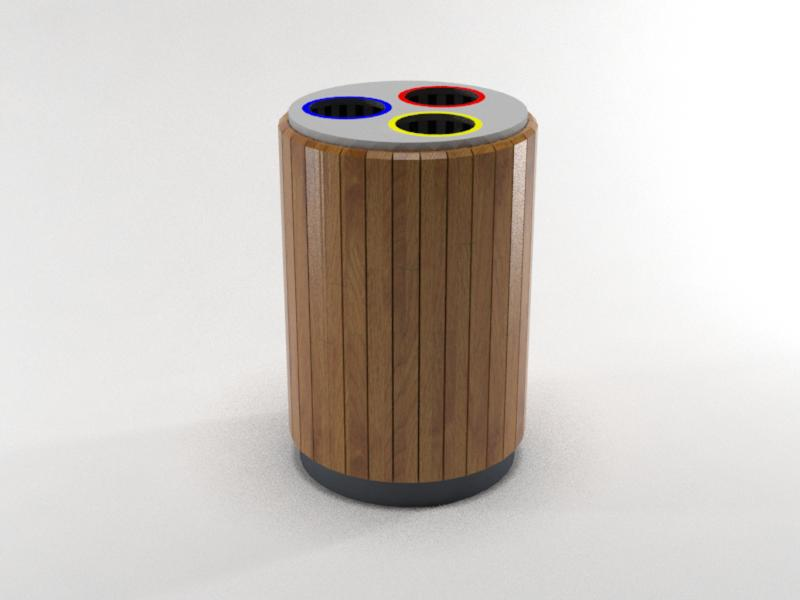 papelera triple reciclaje listones madera grande