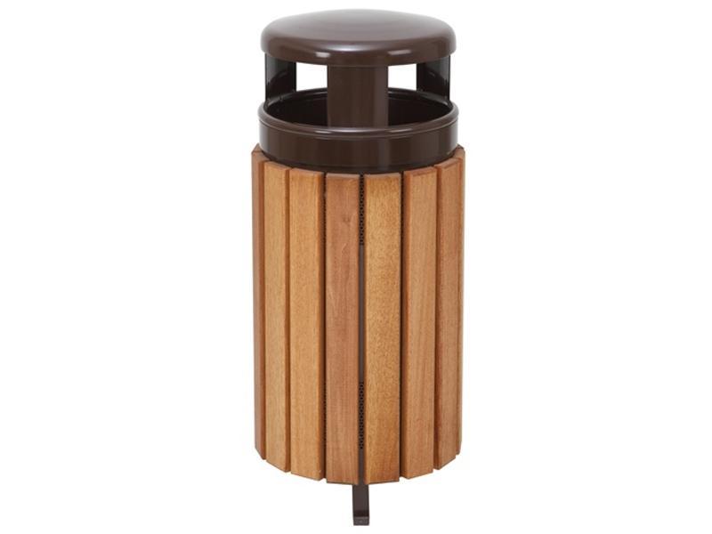 papelera cabezal superior madera