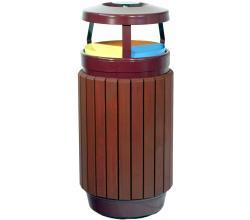 papelera cenicero urbana reciclaje triple