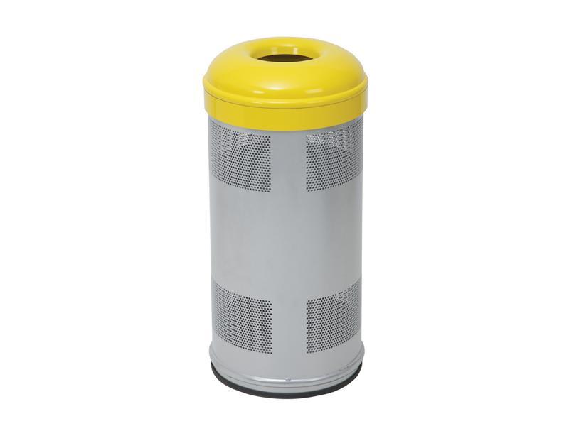 papelera circular amarilla
