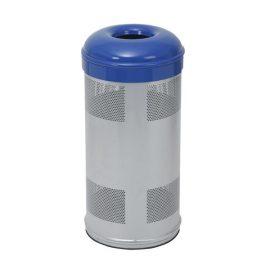 papelera circular reciclaje azul