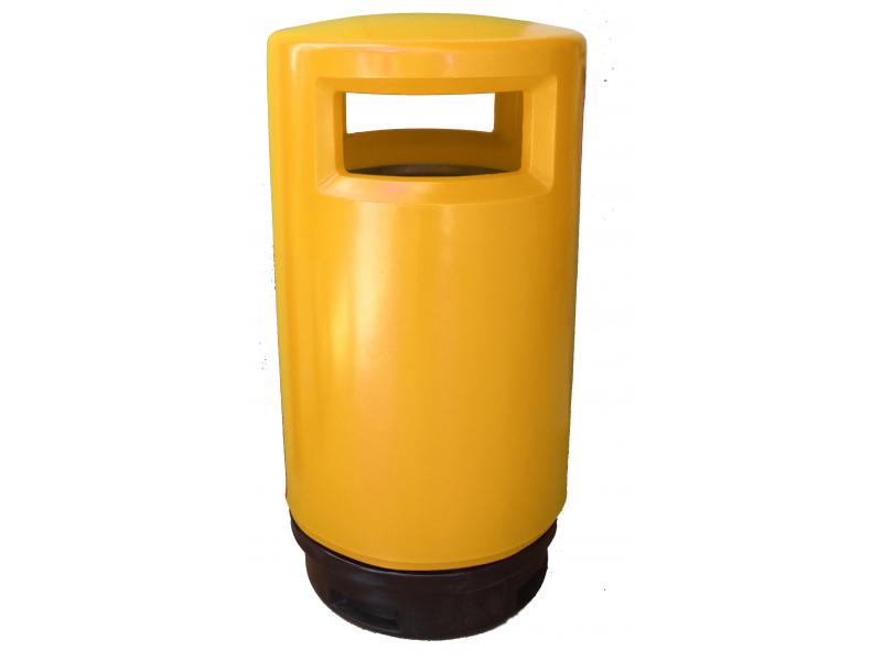 papelera reciclaje exterior polietileno amarilla