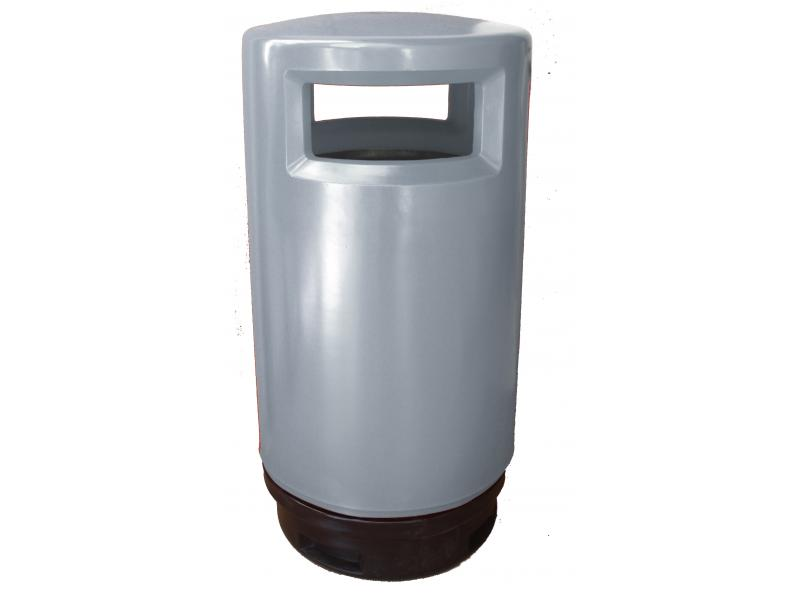 papelera reciclaje exterior polietileno gris