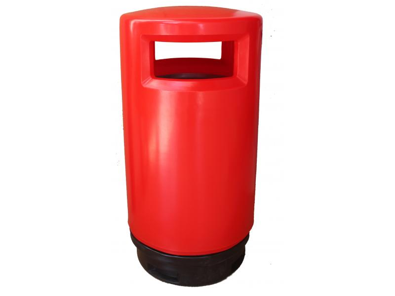 papelera reciclaje exterior polietileno roja